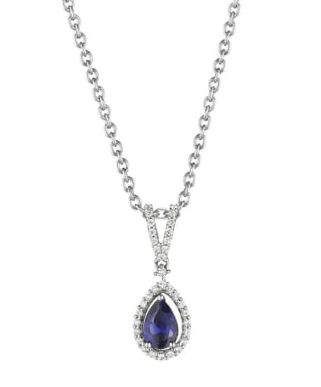 Fana Pear Shape Sapphire and Diamond Pendant